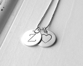 Letter Z Necklace, Sterling Silver Initial Necklace, Large Initial Necklace, Initial Heart Necklace, Hand Stamped Jewelry, Charm Necklace