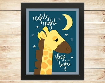 Giraffe Nursery Picture -- Nighty Night Giraffe -- Wall Art -- Giraffe print, Kids wall art, nursery art -- INSTANT DOWNLOAD