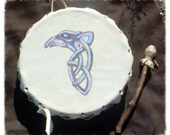 Large Dark Raven 2 Sided Frame Drum with Beater Handmade HIGH QUALITY norse, native american, shamanism