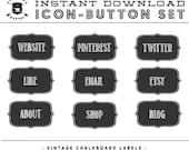 INSTANT DOWNLOAD - Set of 9 Vintage Chalkboard Label Social Buttons/Icons -  for your Blog or Website