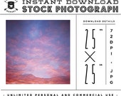 """INSTANT DOWNLOAD - Instagram 25"""" x 25"""" Stock Photo -Pink Sunset Photo Unlimited Personal and Commercial Use for Blog or Web use"""