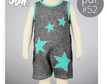 Baby tank top romper pattern // optional star cutouts // pdf download // 0M-6T // #52