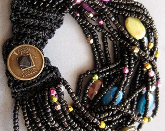 One Acrylic Rice Beads Black Silk Cord Jewelry Hand Crafted Bracelet/Length In 185mm  T1941