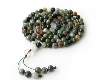 6mm Tibet Buddhist 108 Indian Agate Gemstone Prayer Beads Rosary Beaded Mala  ZZ068