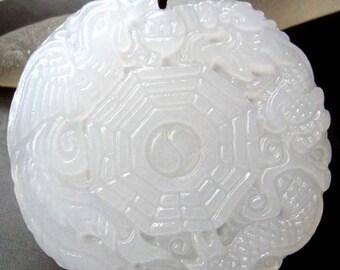 Talisman Dragon Phoenix Tai-Ji 8-Diagram Translucent White Stone Amulet Pendant 45mm x 45mm  T0687