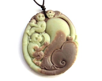 Two Monkeys Bat Moneybag Two Layer Natural Stone Amulet Pendant Good Fortune 50mm x 43mm  ZP022