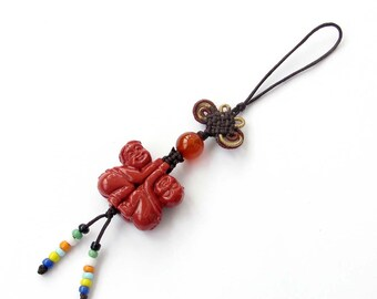 Imitation Red Coral Happy Fortune Boy And Gird Chinese Knot Pendant Hanging 110mm x 23mm  T3149