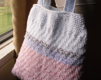 Hand Knitted Bag, Knitted Tote, Pink White and Blue Knitted Handbag