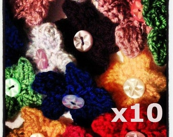 Ten Mini Flower Brooches, Custom Colour Knitted Brooch