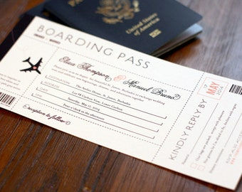 Destination Wedding Boarding Pass Wedding Invitation
