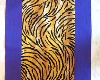 Tiger Print Runner with Purple Strips on Sides - 60 Inches Long by 12 Inches Wide - HANDMADE