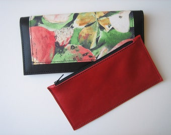 Black and Floral Leather City Wallet