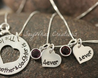 Mother and Daughter Necklace Set for mom and 2 daughters Love Between Mother&Daughter is Forever and Ever