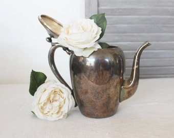 Tarnished Silverplate Teapot, Shabby Home Decor