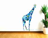 Giraffe Wall Decals, Blue Giraffe Decal, Geometric Pattern giraffe, Kids Wall decals, animal wall decal, safari animal, baby shower gift