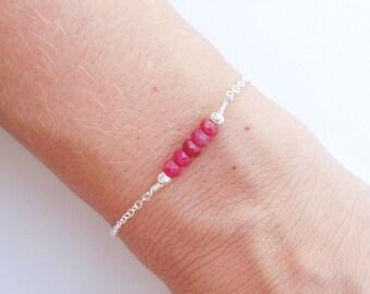 Ruby Bracelet in Silver - Beadwork Jewelry