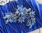 Blue Satin Clutch with Crystal   brooch,Satin Evening Bag,Clutch, Wedding handbag ,Bridal  Swarovski Pearls ,Vintage Style Bridal