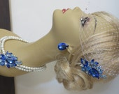 Bridal Jewelry SET -( 3 items ) Swarovski Pearls Necklace Hair Comb and Earrings  Something Blue Weddings necklace Bridal Necklace