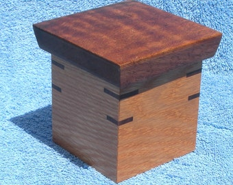 Oak and Walnut Lift Top Box