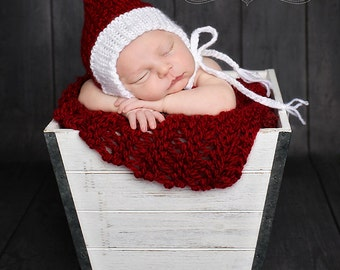 Hat, Baby, Christmas Hat, Newborn Hat, Bonnet, Red and White, Baby Beanie, Toddler,  Photo Prop, Accessories Children