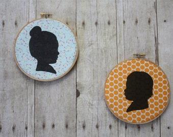 Custom Silhouette Fabric Embroidery Hoop
