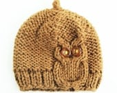 Owl Cable Knit Hat in Chocolate brown