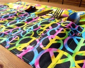 Peace Signs Roll Up Place Mat Set