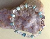 Mmmm Larimar and Vintage Rock Crystal Bracelet