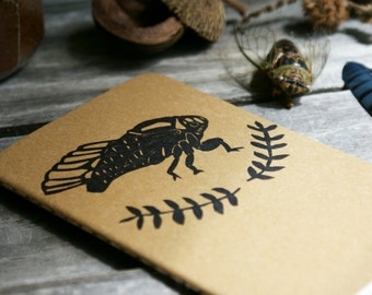 Cicada Seal Moleskine Notebook Hand Carved Linocut Design Summer Nature Bug Insect Naturalist Biology Men Dad BIrthday Present Gift