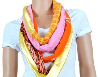 Scarf - Infinity Scarf - Womens Chunky Zebra Print and Plaid Scarf