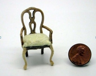 Miniature dollhouse furniture chair  half scale undecorated - code VMJ 1125s
