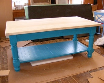 Beautiful Large Kitchen Island OCEAN BLUE Finish Completely Handcrafted 2 Inch Thick Solid Maple Top