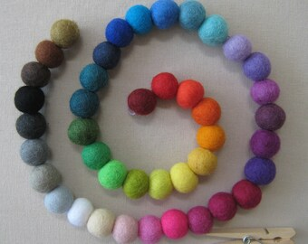 1.5cm / .6 in Wool Felt Ball Color Chain  - 42 colors