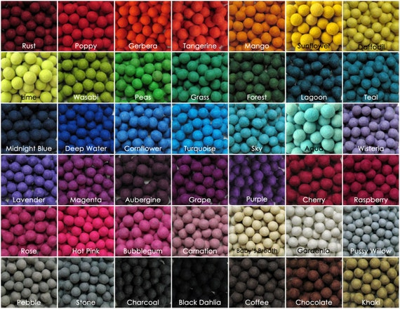 250  2cm Wool Felt Balls - Your Choice of Colors