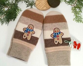 Warm, Wool Mittens. Older grade school size. Gingerbread men. Felted wool with fleece lining.