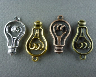 Choice 4 colors LIGHT BULB 8 pc coiled CHARM or pendant antique silver gold copper bronze
