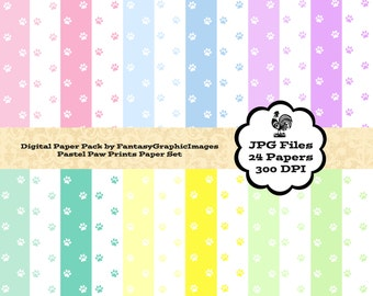 Paw Prints Digital Paper Pack Love Dogs Cats Pastel Colors 24 Papers Pets Cats Dogs Background Photography DIY Scrapbooking Instant Download