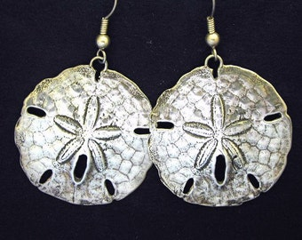 Sterling Silver Large Atlantic Sand Dollar Earrings on Sterling Silver French Wires