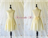 A Party Dress - V Shape Vanilla Cream Dress Bridesmaid Dresses Vanilla Dresses Prom Party Dress Backless Dress Deep Back Bow Dress Custom