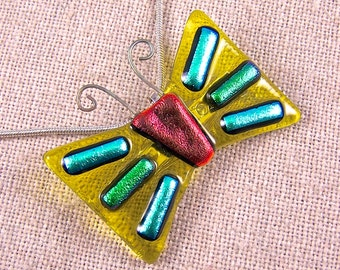 Dichroic Butterfly Brooch Pin AND PENDANT - Copper Orange and Emerald Green Dichro over Yellow Stained Glass