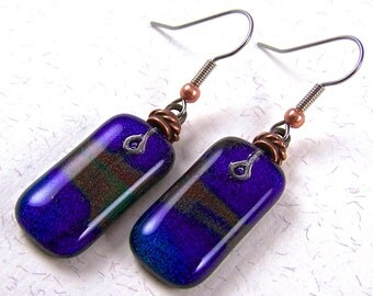 Dichroic Earrings - Purple Blue Green Orange Rainbow Swirls Dichro Tie Dye Fused Glass - Surgical Steel French Wire Dangle or Clip-on