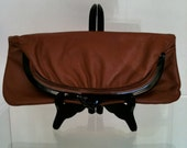 Mid Century Cinnamon Soft Leather Convertible Clutch - Circa 1960s