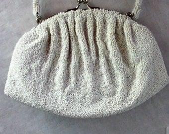 Pretty White Beaded Bag Vintage