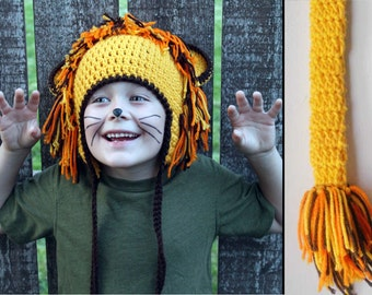 Kids or Adult Lion Halloween Costume - Crochet Earflap Hat and Tail Set - Childrens Accessories by Julian Bean