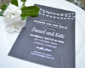 Rehearsal Dinner, Wedding Shower, Birthday Party, Engagement Party Invitation (dinner on the deck)