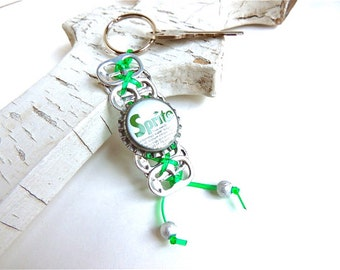Pop Tab and Bottle Cap KEYCHAIN - Sprite - for teens - green - eco-friendly/upcycled gifts - under 10 dollars