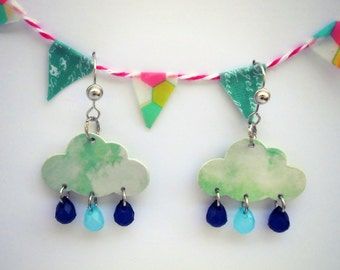 Dangle Earrings - Pale blue Clouds and Raindrops - The Silver Lining Collection