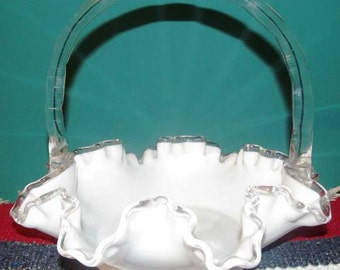 Vintage Fenton Silver Crest White (Milk) Glass Basket (*)