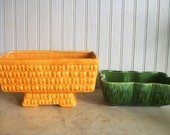 Vintage Mid Century Planters/ Yellow and Green