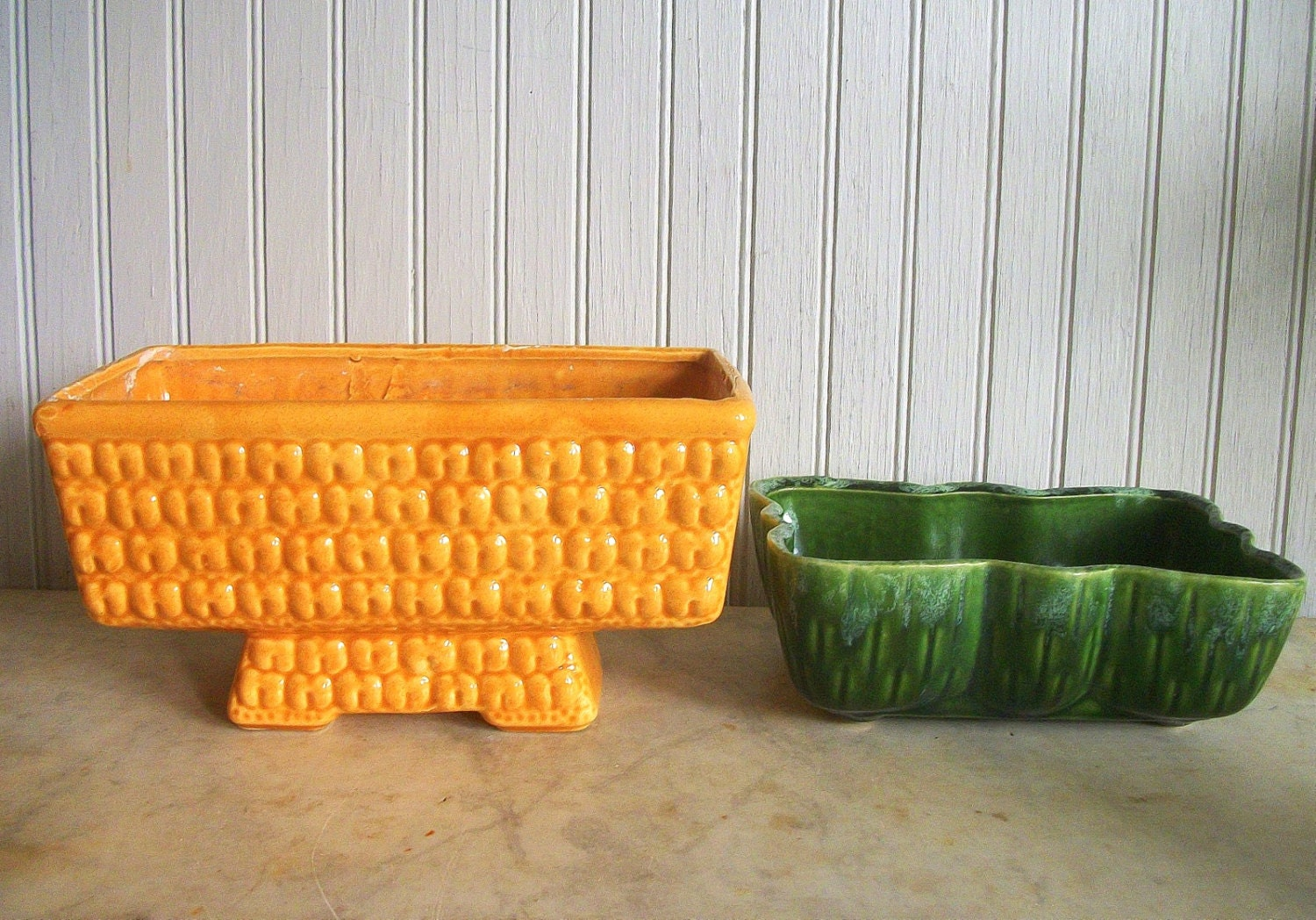 Vintage Mid Century Planters Yellow And Green